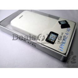 New White leather Flip Case Cover pouch table talk for iPhone 4 4S