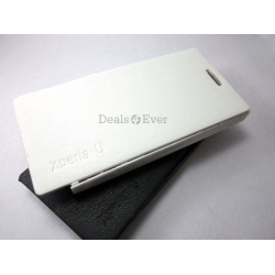 BRAND NEW WHITE HARD SHELL FLIP CASE COVER POUCH FOR SONY XPERIA U ST25i